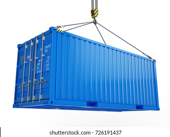 Delivery, cargo, shipping concept - blue cargo container hoisted by crane hook isolated on white. 3d illustration