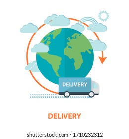 delivery concept. delivery background with cartoon round earth, clouds and red arrow and truck, worldwide delivery concept over white