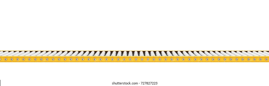 Delivery concept. Empty conveyor line isolated on a white. 3d illustration