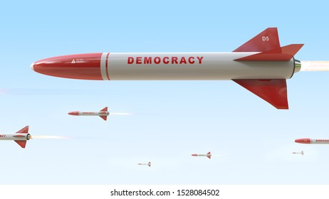 Delivery of democracy. Photo with sarcasm. 3D rendering