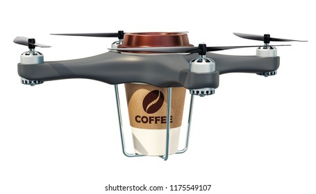 Delivery drone with cup of coffee, 3D rendering isolated on white background
