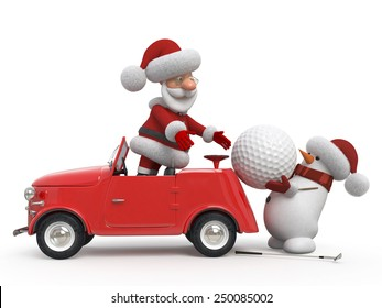 Delivery of gifts on New Year's Eve/3d Santa Claus golfer by car