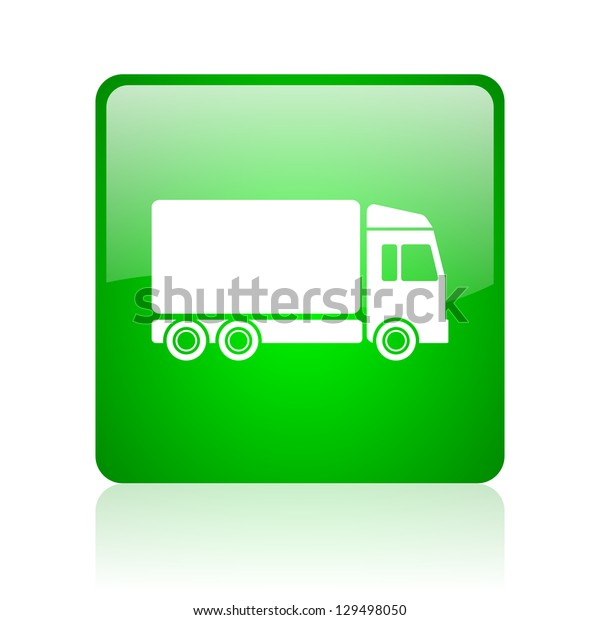 delivery green square web icon on white background