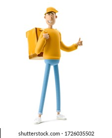 Delivery guy in yellow uniform stands with the big bag. 3d illustration. Cartoon character.