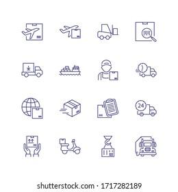 Symbol für die Lieferlinie eingestellt. Kurier, Schiff, LKW. Versandkonzept. Kann für Themen wie Fracht, Mailing, Postdienst verwendet werden