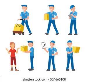 Delivery man in different poses set, flat style illustration. In blue uniform.