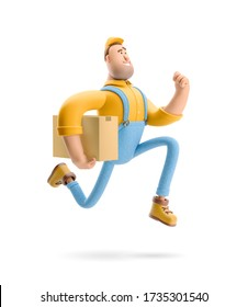 Delivery man runs with the package in his hands. 3d illustration. Cartoon character. Express delivery concept.