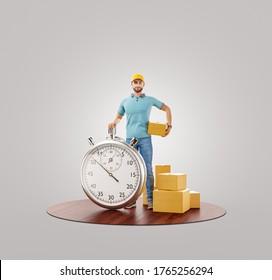 Hombre de entrega con cronómetro de cronómetro que sujeta la caja de cartón. Concepto de entrega y cargo. Ilustración inusual 3d