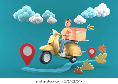 Delivery man with yellow scooter on a blue background.-3d rendering.