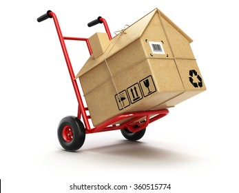 Delivery or moving house concept. Hand truck with cardboard box as home isolated on white. 3d