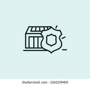 Delivery protection icon line isolated on clean background. Delivery protection icon concept drawing icon line in modern style.  illustration for your web mobile logo app UI design.
