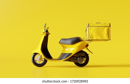 Delivery scooter with food box on yellow background. Delivery service concept. 3d rendering