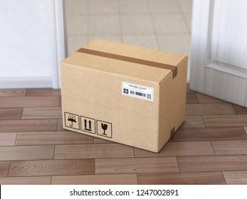 Delivery service concept.. Cardboard box front of entrance open door. 3d illustration