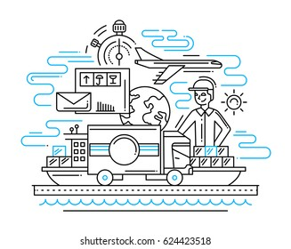 Delivery service plain line flat design illustration with delivery man, vehicle, plane, ship