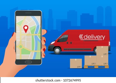 Delivery service via modern technology. Tracking system. Mobile App. Flat design modern  illustration concept