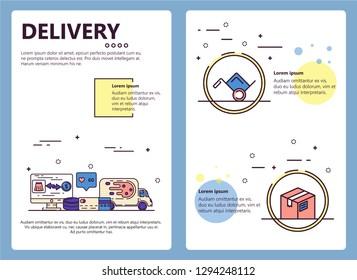 Delivery service web banner, poster, flyer, leaflet, brochure template. modern thin line art flat style design illustration.