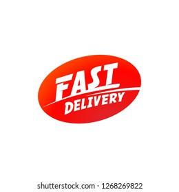 delivery and shipping logo. Fast delivery sign. Fast delivery typographic inscription on red ellipse shape. illustration.