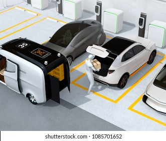 Delivery staff carrying cardboard box to white car trunk. Concept for car trunk delivery service. 3D rendering image.