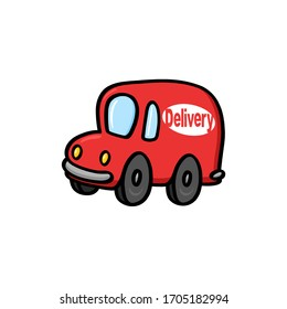Delivery truck illustration on white background