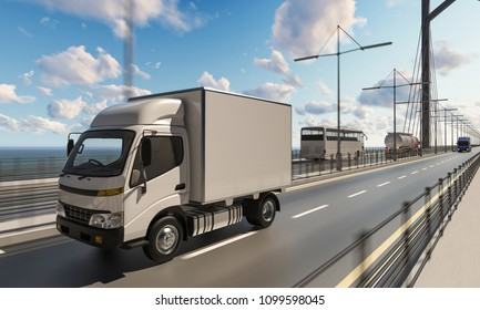 Delivery Truck with Other Commercial Vehicles on Bridge 3d rendering