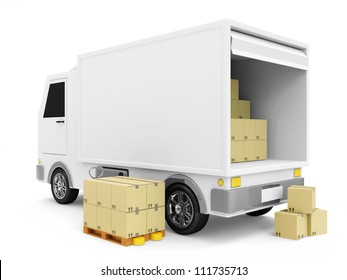 Delivery Van with a Boxes on white background