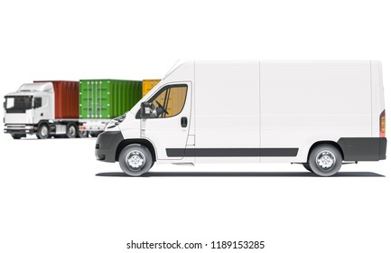 Delivery Van and Cargo Container Trucks in Various Colors 3d rendering