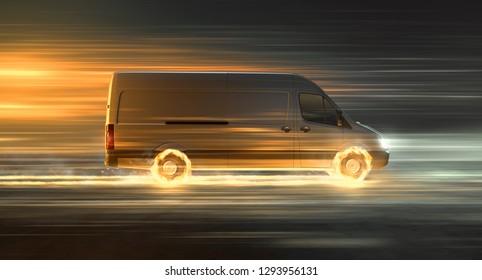 Delivery van with fire tires (3D Rendering)