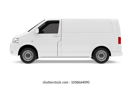 8ab2184502 Delivery Van Isolated (side view). 3D rendering