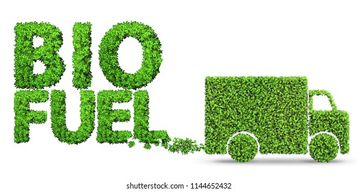 Delivery van powered by biofuel - 3d rendering