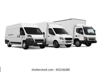 Delivery Vans. 3D rendering