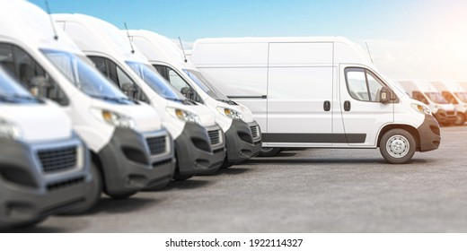 Delivery vans in a row with space for logo or text. Express delivery and shipment service concept. 3d illustration