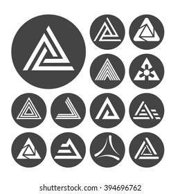 Delta letter icons set, 13 signs on dark round plates, 2d raster