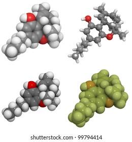 Delta-9-tetrahydrocannabinol (THC) molecule, chemical structure. THC is the main active compound found in cannabis.