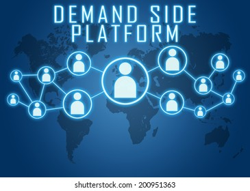 Demand Side Platform concept on blue background with world map and social icons.