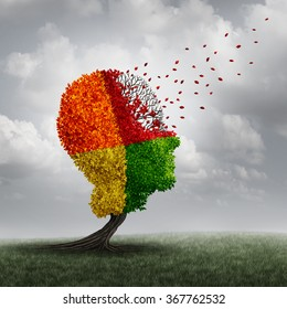 Dementia brain loss memory problem and aging due to cognitive disease and alzheimer's illness as a medical icon as an autumn fall tree shaped as a human head losing leaves with winds of change.