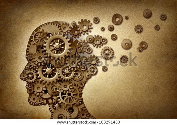 Dementia brain problem medical  and health care concept symbol on a grunge parchment texture as a vintage document with gears and cogs as icons of medicine and human intelligence.