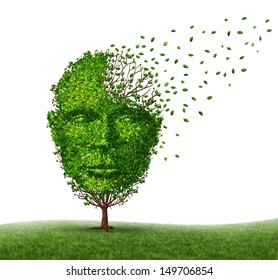 Dementia disease coping with Alzheimer's illness as a medical icon of a tree in the shape of a front view human head and brain losing leaves as aging challenges in intelligence and memory loss.
