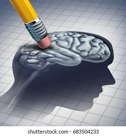 Dementia illness and disease as a loss of brain function and memories as alzheimers as a medical health care icon of mental problems with a pencil erasing the anatomy with 3D illustration elements.