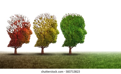 Dementia and mental health recovery and Alzheimer brain memory disease therapy concept as old trees recovering as a neurology or psychology and psychiatry cure metaphor with 3D illustration elements.