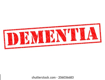 DEMENTIA red rubber Stamp over a white background.
