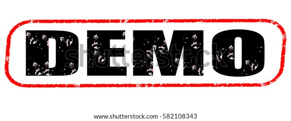 demo red and black stamp on white background.