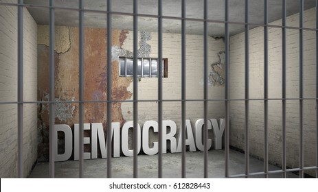 democracy in prison - symbolic 3D rendering concerning totalitarian systems