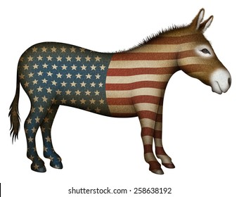 Democrat Donkey Painted With Stars and Stripes