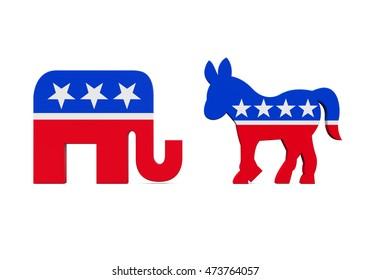 Democrat Donkey and Republican Elephant. 3D rendering