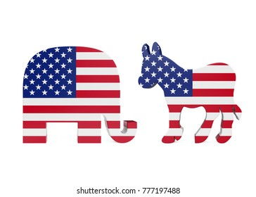 Democrat Donkey and Republican Elephant with United States Flag. 3D rendering