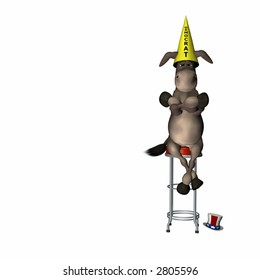 Democrat, represented by a donkey, sitting on a stool wearing a dunce cap. Political humor.