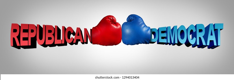 Democrat republican fight as an american political battle in the senate or congress as Republicans Versus Democrats with two boxing gloves fighting with 3D illustration elements.