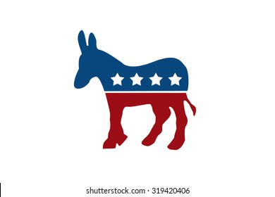 The Democratic Donkey isolated on white