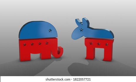 Democratic party and republican party symbols - on the center- 3D model illustration on a white background