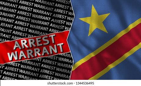 Democratic Republic of Congo and Arrest Warrant Titles Flag Together - 3D illustration Fabric Texture